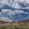 Storm clouds over Toadstool Geological Park in Northwestern Nebraska