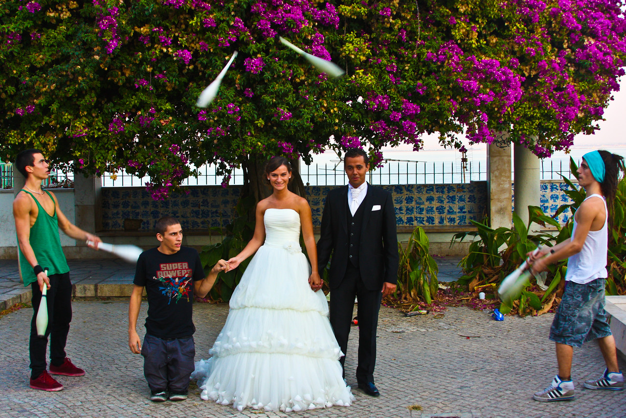 Lisbon, Portugal- The party started when these newly weds walked into a park in Lisbon.