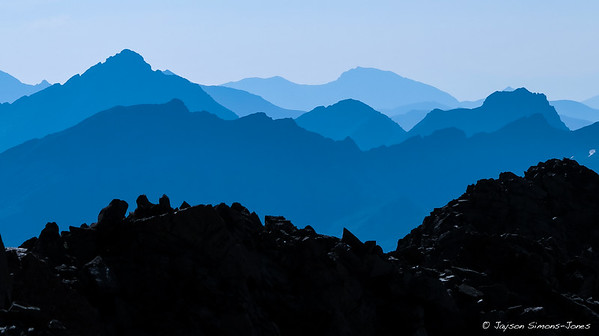 Wildfire Smoke sets a blue hue over the Elk Mountains, Colorado