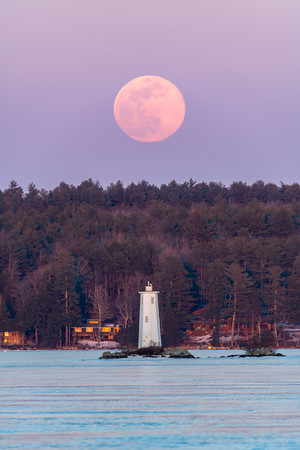 Super Moon Over Loon Island Light