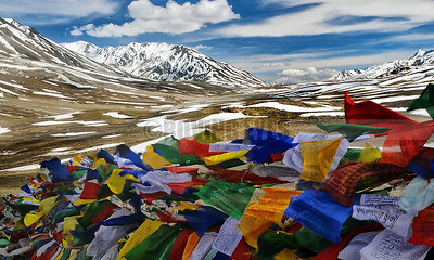 A24:Baralachla Pass (4890 Mtrs) with colourful tibetan prayer flags flapping in the wind,on the Manali-Leh Highway