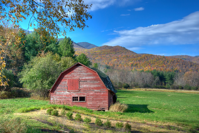 Weathered Red Barn in the Fall High Peaks of the Adirondacks