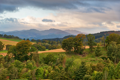 Scottish Mountains over Crieff Scotland at Autumn.