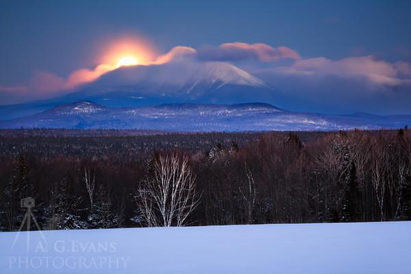 Snow Moon Over Katahdin
