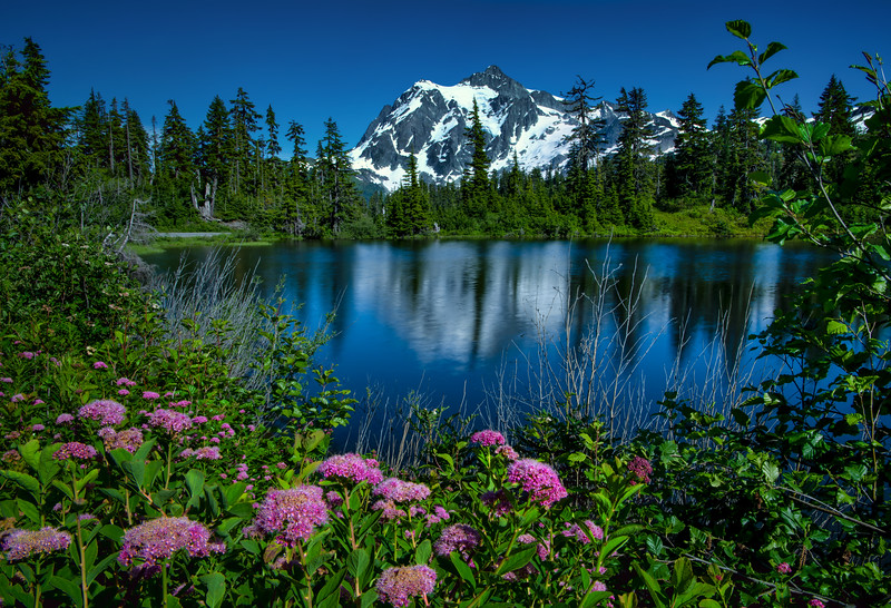 Mount Shuksan reflected in Highwood Lake, Mount Baker-Snoqualmie National Forest, Washington State