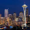 Kerry Park, Seattle, Washington at sunset.