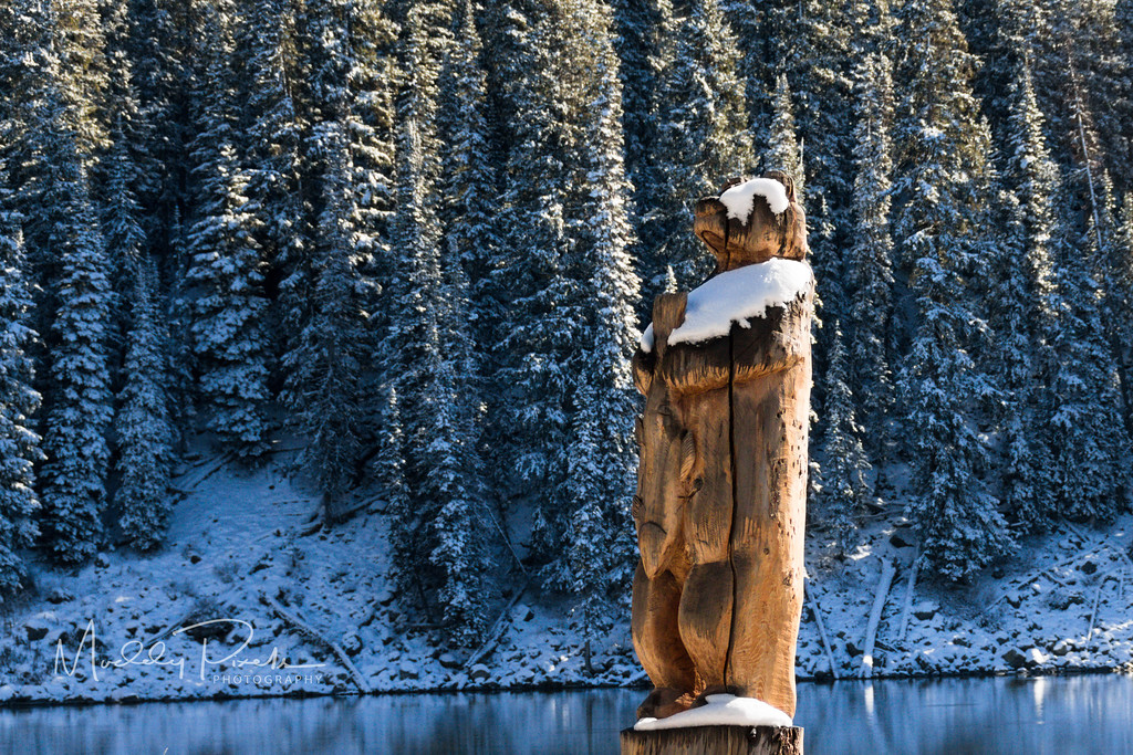 Carved Bear with Trout