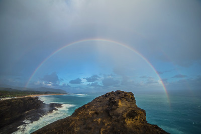 Rainbow over Halona Cove, Oahu