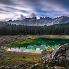 "Lake of Carezza in Val d'Ega valley (South Tyrol, Italy) is known is known as ""Lec de Ergobando"" (The Rainbow Lake)"