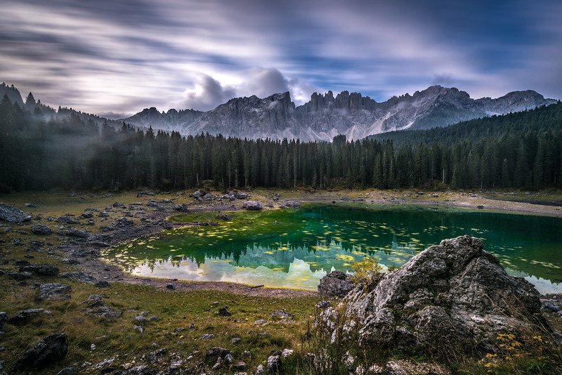 """Lake of Carezza in Val d'Ega valley (South Tyrol, Italy) is known is known as """"Lec de Ergobando"""" (The Rainbow Lake)"""