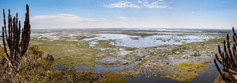 Stitched Panorama of Pantanal as seen from Amolar mountains, matogrossense national park, Pantanal, Brazil.