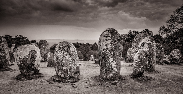 Megaliths at Cromoleque do Almendres (Cromlech of the Almendres) Looking Toward the Town of Evora