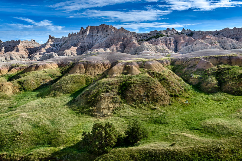 Unusually green in the Badlands, Badlands National Park, South Dakota