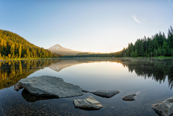 Trillium Lake Sunrise Fish Eye - Mount Hood-8