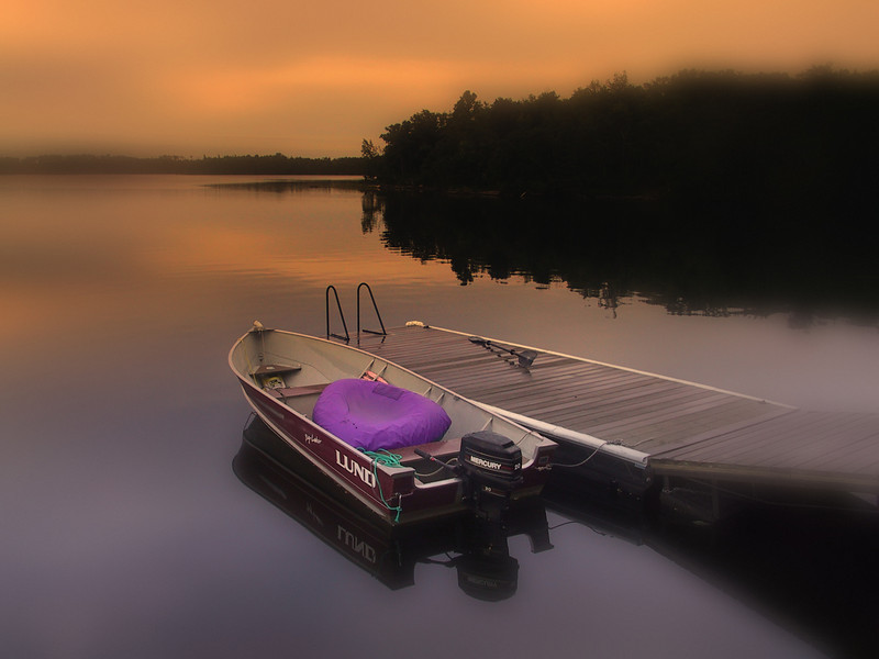 Dock, Early morning on Lake of the Woods, Ontario, Canada