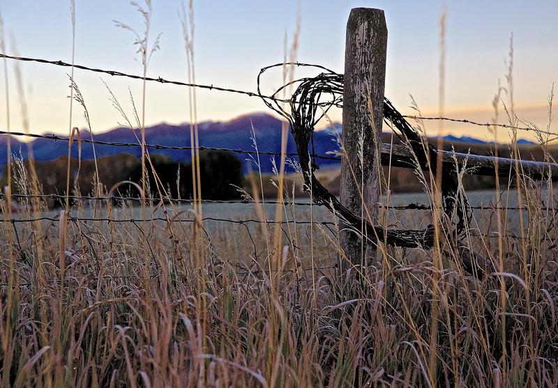 Frozen Dawn.  Near Livingston, Montana