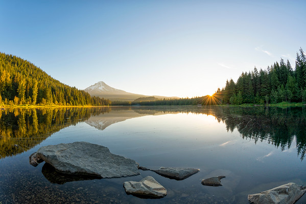 Trillium Lake Sunrise Fish Eye - Mount Hood-10