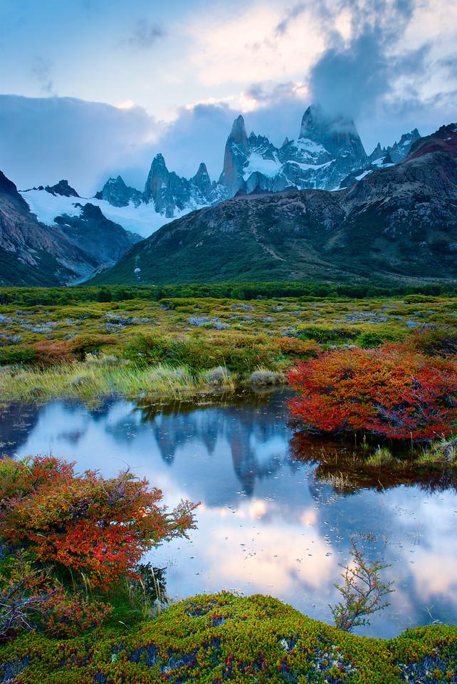 Fitz Roy Meadow Reflection – Los Glaciares National Park, Patagonia, Argentina