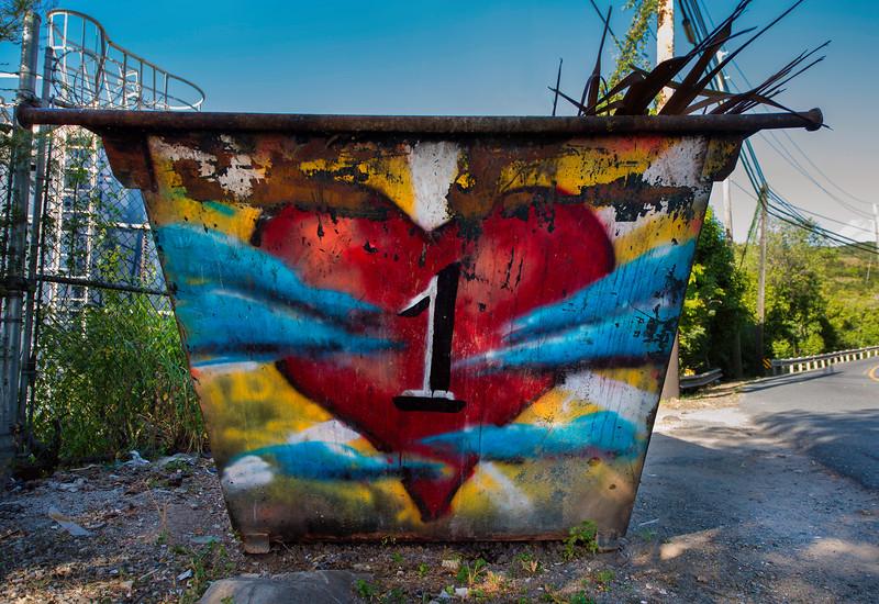 """""""One Love"""" dumpster, St John USVI"""
