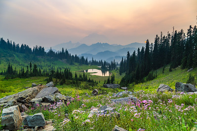 Smokey Sunset at Mount Rainier