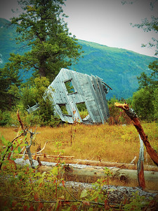An abandoned building used near a mine outside of Haines, Alaska
