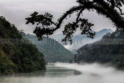 A15:Mist covers the waters of River Teesta,as it meanders mystically between the mountains,as seen from Teesta Bazaar,West Bengal