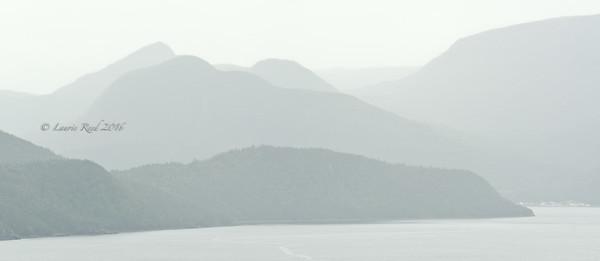 Foggy hills over Bonne Bay.