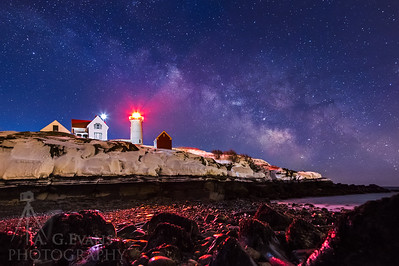 Blue Hour Milky Way over Nubble Light