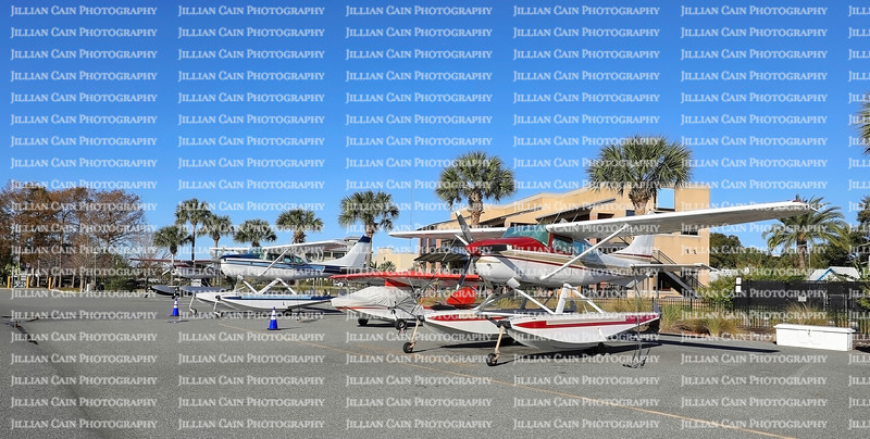 Seaplanes parked at Wooten Park in Tavares, Florida, USA.