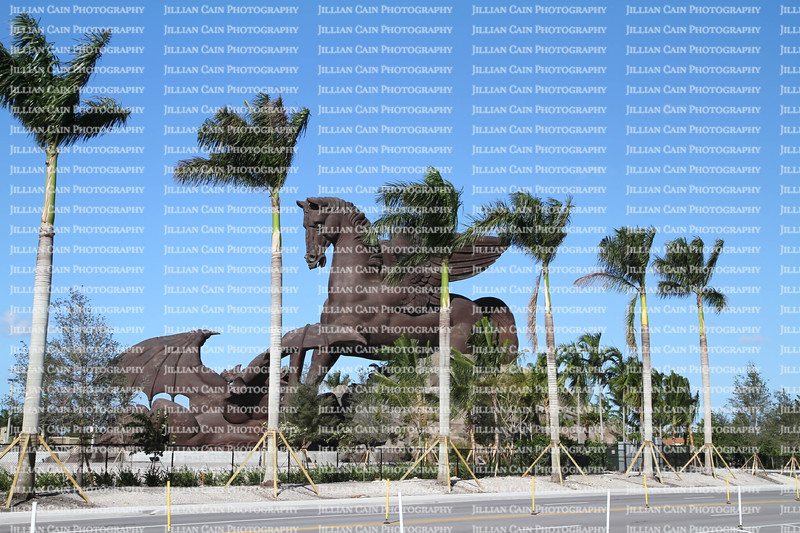 Recently completed attraction, at a cost of over 30 million, a giant bronze Pegasus statue slaying a dragon at Gulfstream Park Racing & Casino.