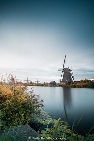 Kinderdijk mills at sunset