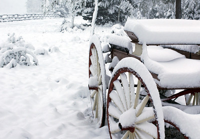 A snow covered wagon - Rawah, Colorado