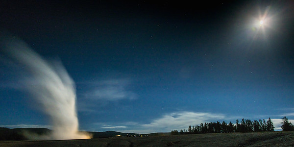 Old Faithful with Full Moon