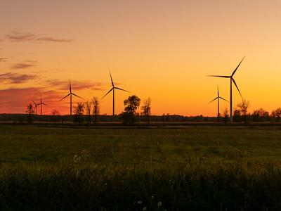 Wind Turbines Generating Clean Energy on Amherst Island, Ontario, Canada