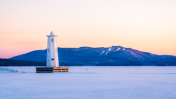 Herrick Cove Light and Mount Sunapee at Sunset