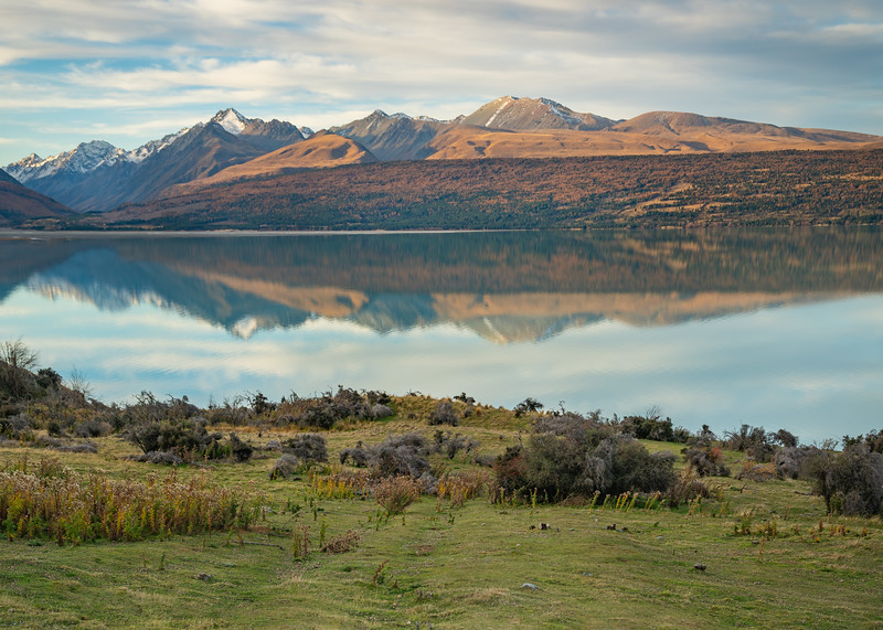 Mountains reflected over Lake Pukaki