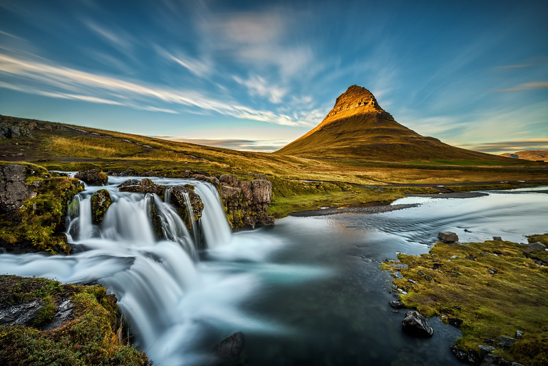 Sunset over Kirkjufellsfoss Waterfall in Iceland