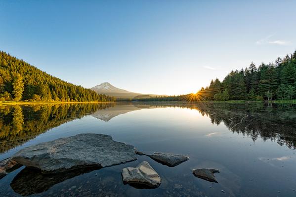 Trillium Lake Sunrise Fish Eye - Mount Hood-11