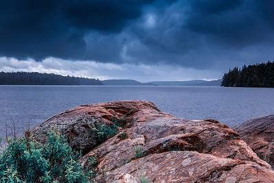 Angry skies on the rocks