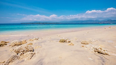 The white sand beach of Gili Meno island, Indonesia.