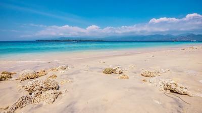 The white sand beach of Gili Meno island, Indonesia.
