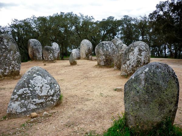 Megaliths at Cromoleque do Almendres (Cromlech of the Almendres) –Color