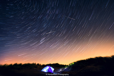 Starry night during Perseids meteor shower