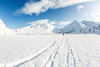 Tracks across Portage Lake<br /> <br /> Canon 5D MK III<br /> Canon EF 15mm f/2.8 Fisheye<br /> Portage Lake, Alaska