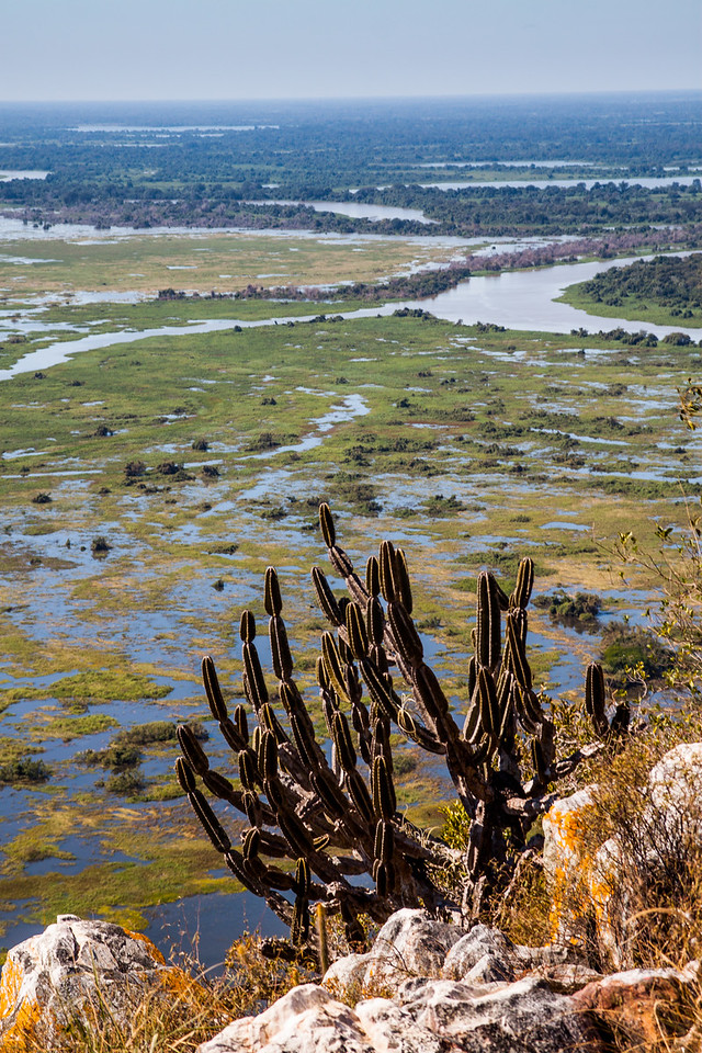 Pantanal and Cuiaba river, as seen from caracara hill, Amolar mountains, matogrossense national park, Pantanal, Brazil.