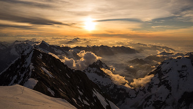 Sunset from Middle Peak on Aoraki Mt Cook