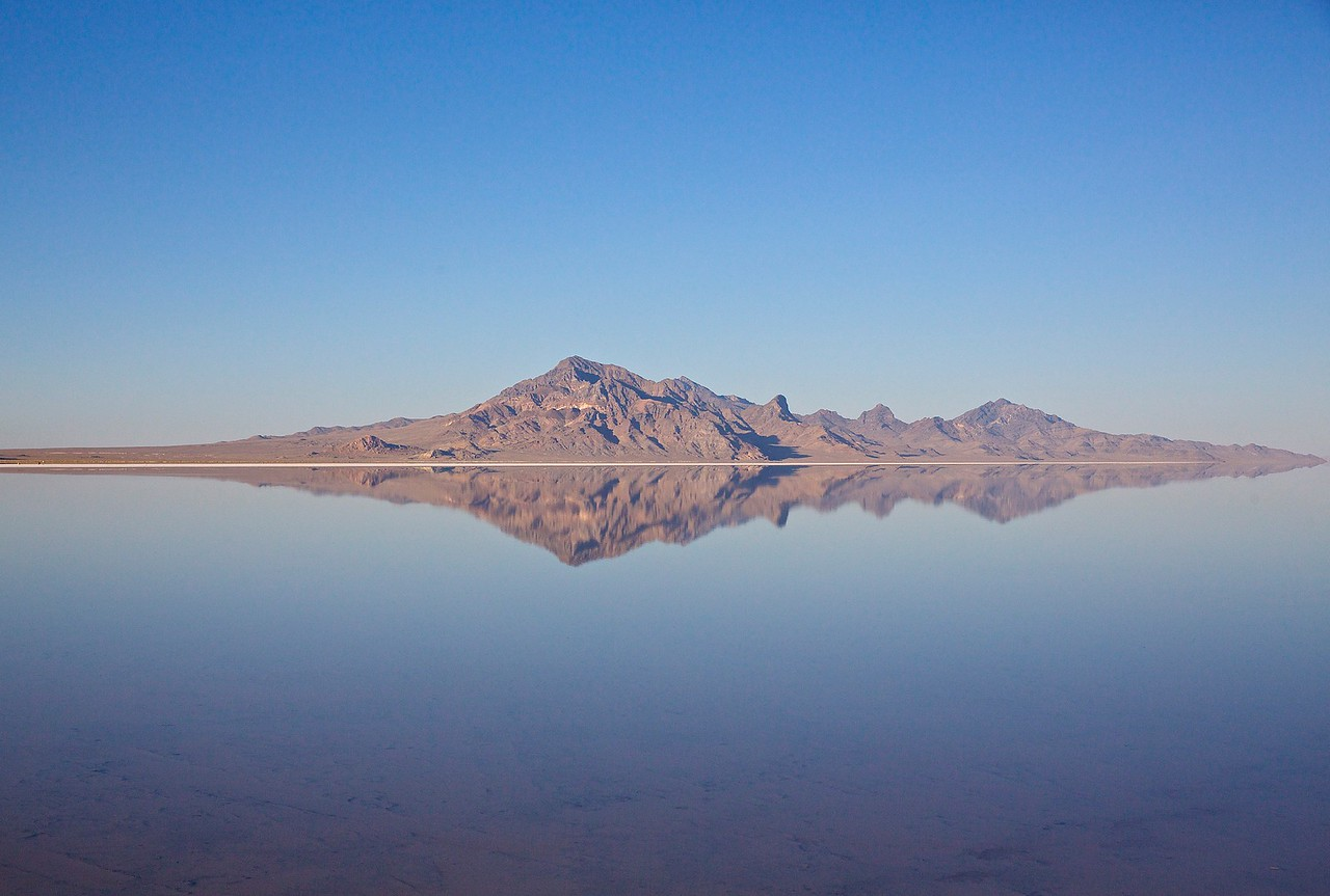 Reflection.  Bonneville Salt Flats, Utah.