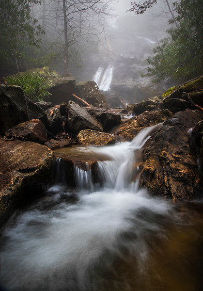 Thick fog at Glen Marie Falls
