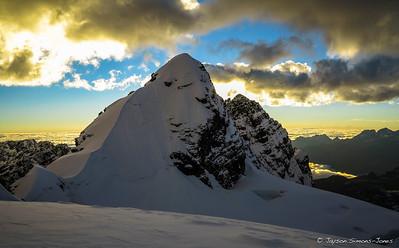 Sunrise behind Pequeno Alpamayo....Condorirri Range, Bolivia