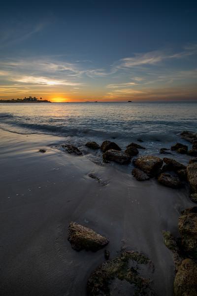 Sunset on Dickenson Bay Beach